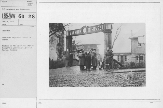Army of Occupation - Americans guarding a gate in Treves. Yankees of the American Army of Occupation guarding a gate in Treves, Germany