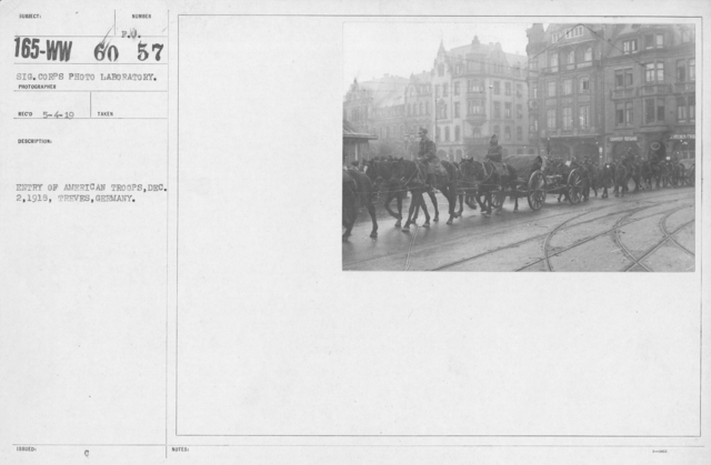 Army of Occupation - Entry of American troops, Dec. 2, 1918, Treves, Germany