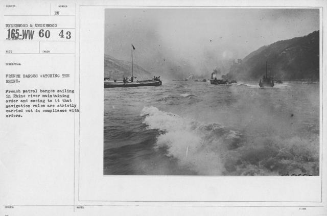 Army of Occupation - French barges watching the Rhine. French patrol barges sailing in Rhine river maintaining order and seeing to it that navigation rules are strictly carried out in compliance with orders