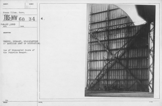 Army of Occupation - Treves, Germany, Headquarters of American Army of Occupation. One of the monster doors of the Zeppelin hangar