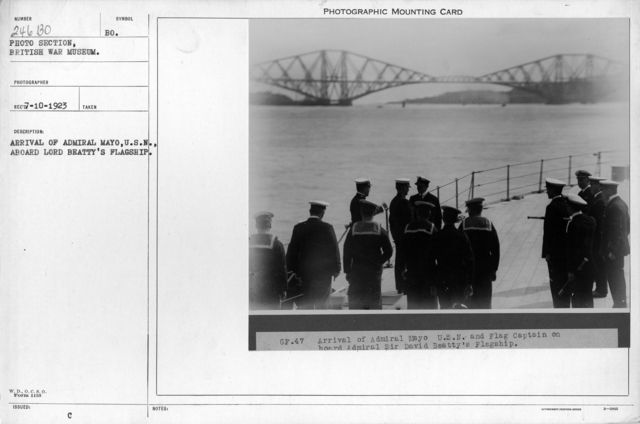 Arrival of Admiral Mayo , U.S.N., aboard Lord Beatty's flagship