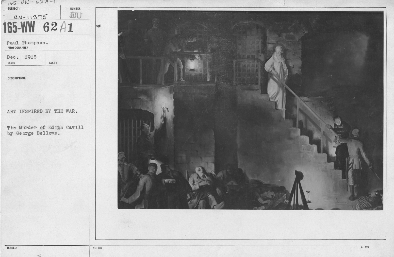 Artists - American Artworks (Wartime Cartoons) - Art inspired by the war. The Murder of Edith Cavill by George Bellows