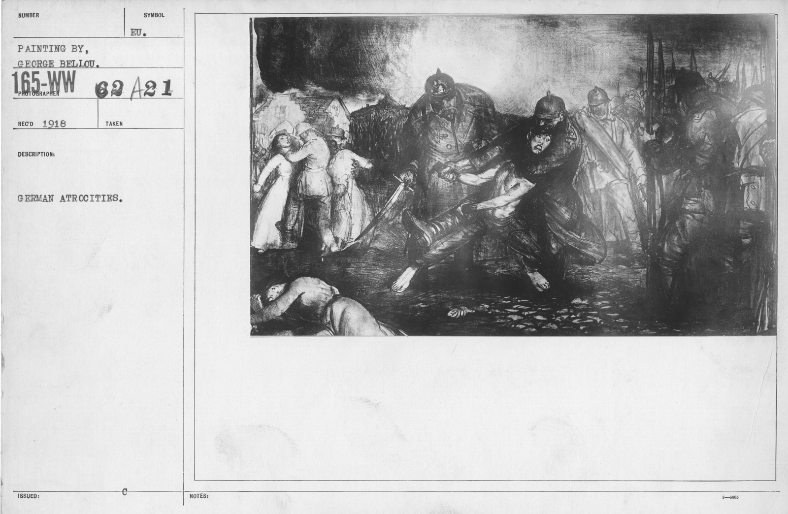Artists - American Artworks (Wartime Cartoons) - German atrocities