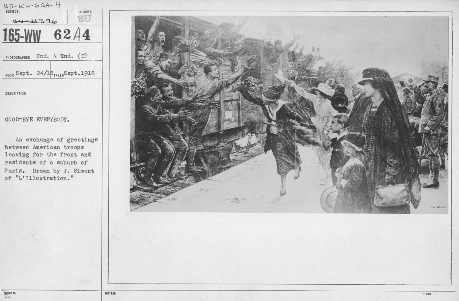 """Artists - American Artworks (Wartime Cartoons) - Good-bye Everybody. An exchange of greetings between American troops leaving for the front and residents of a suburb of Paris. Drawn by J. Simont of """"L'Illustration."""""""