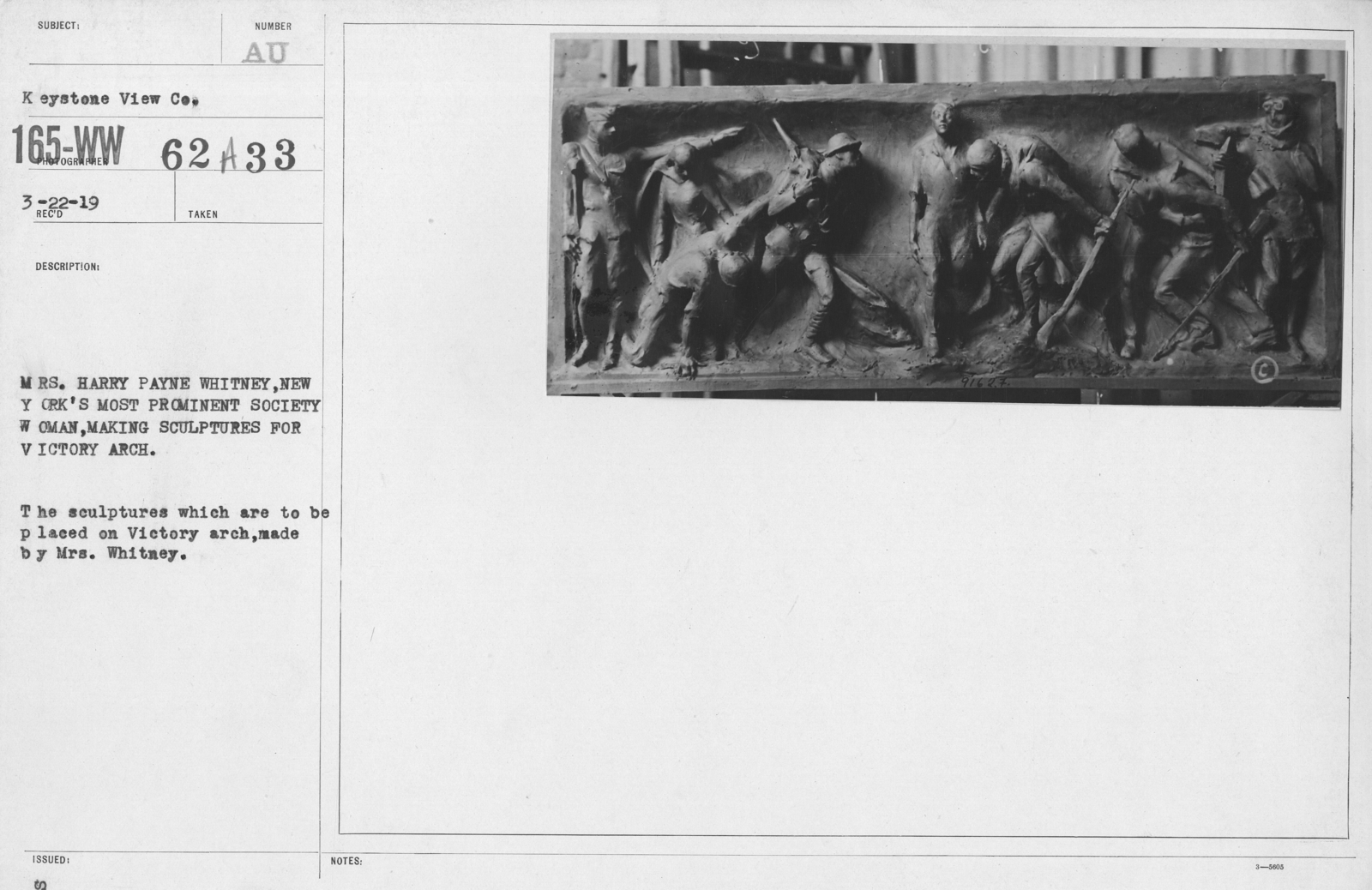 Artists - American Artworks (Wartime Cartoons) - Mrs. Harry Payne Whitney, new York's most prominent society woman, making sculptures for Victory Arch. The sculptures which are to be placed on Victory arch, made by Mrs. Whitney