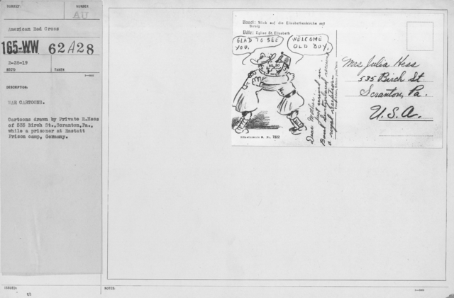 Artists - American Artworks (Wartime Cartoons) - War Cartoons. Cartoos drawn by Private R. Hess of 535 Birch St., Scranton, PA., while a prisoner at Rastatt Prison camp, Germany
