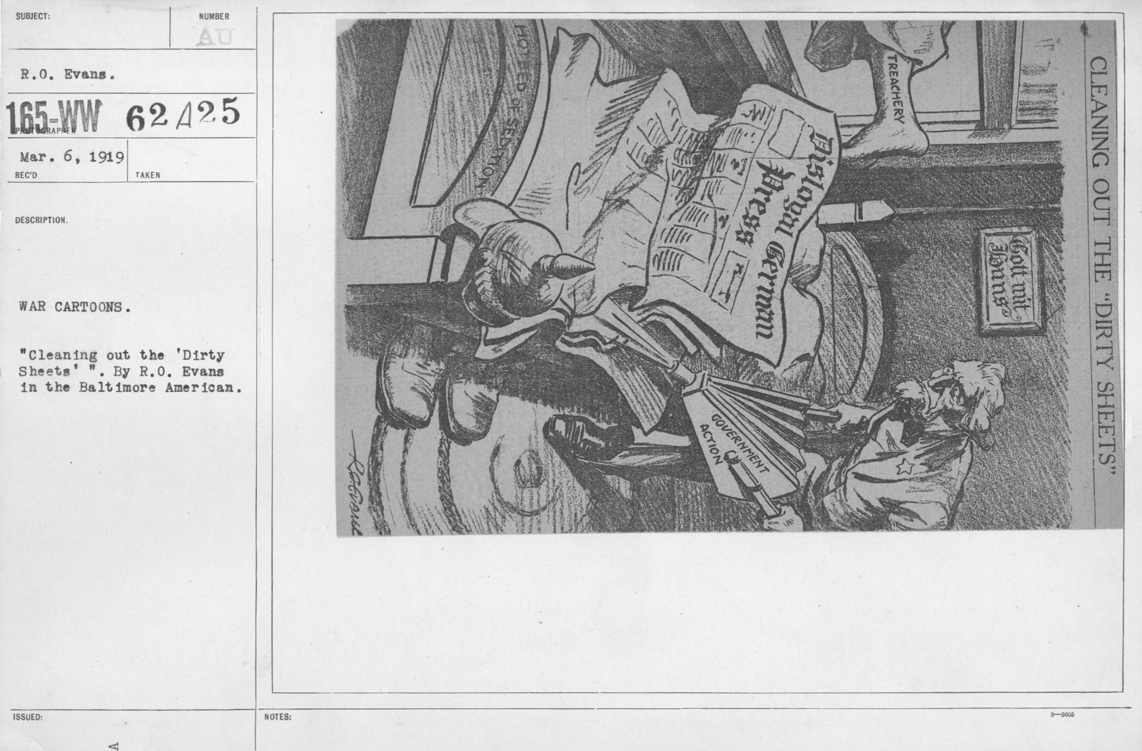 """Artists - American Artworks (Wartime Cartoons) - War Cartoons. """"Cleaning out the 'Dirty Sheets'."""" By R.O. Evans in the Baltimore American"""