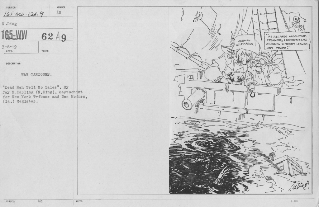 """Artists - American Artworks (Wartime Cartoons) - War Cartoons. """"Dead Men Tell No Tales."""" By Jay N. Darling (N. Ding), cartoonist for New York Tribune and Des Moines, (Ia.) Register"""