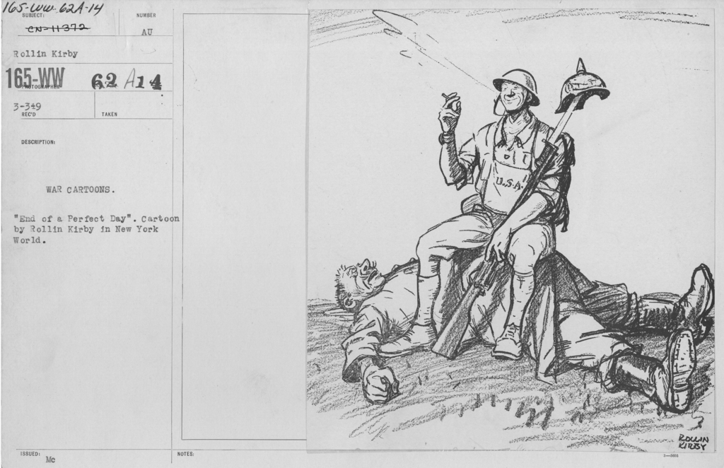 """Artists - American Artworks (Wartime Cartoons) - War Cartoons. """"End of a Perfect Day."""" Cartoon by Rollin Kirby in New York World"""
