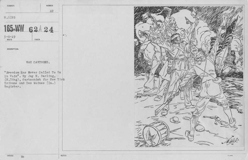 """Artists - American Artworks (Wartime Cartoons) - War Cartoons. """"Freedom Has Never Called To Us In Vain."""" By Jay n. Darling, (N. Ding), Cartoonist for New York Tribune and Des Moines (Ia.) Register"""