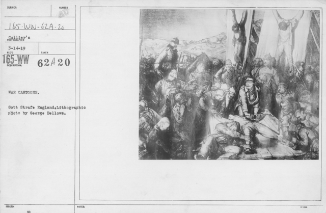 Artists - American Artworks (Wartime Cartoons) - War Cartoons. Gott Strage England. Lithographic photo by George Bellows