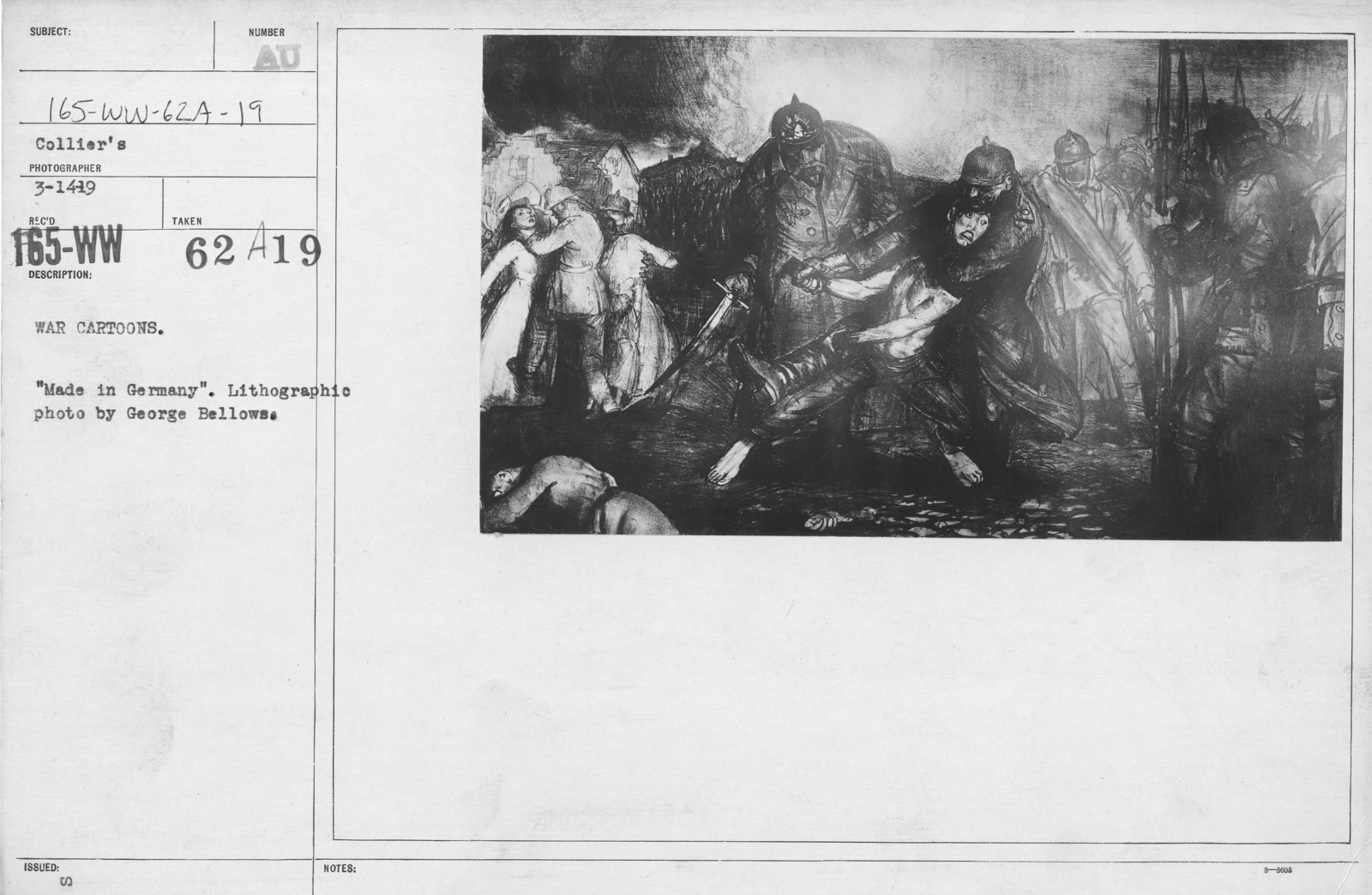 """Artists - American Artworks (Wartime Cartoons) - War Cartoons. """"Made in Germany."""" Lithographic photo by George Bellows"""