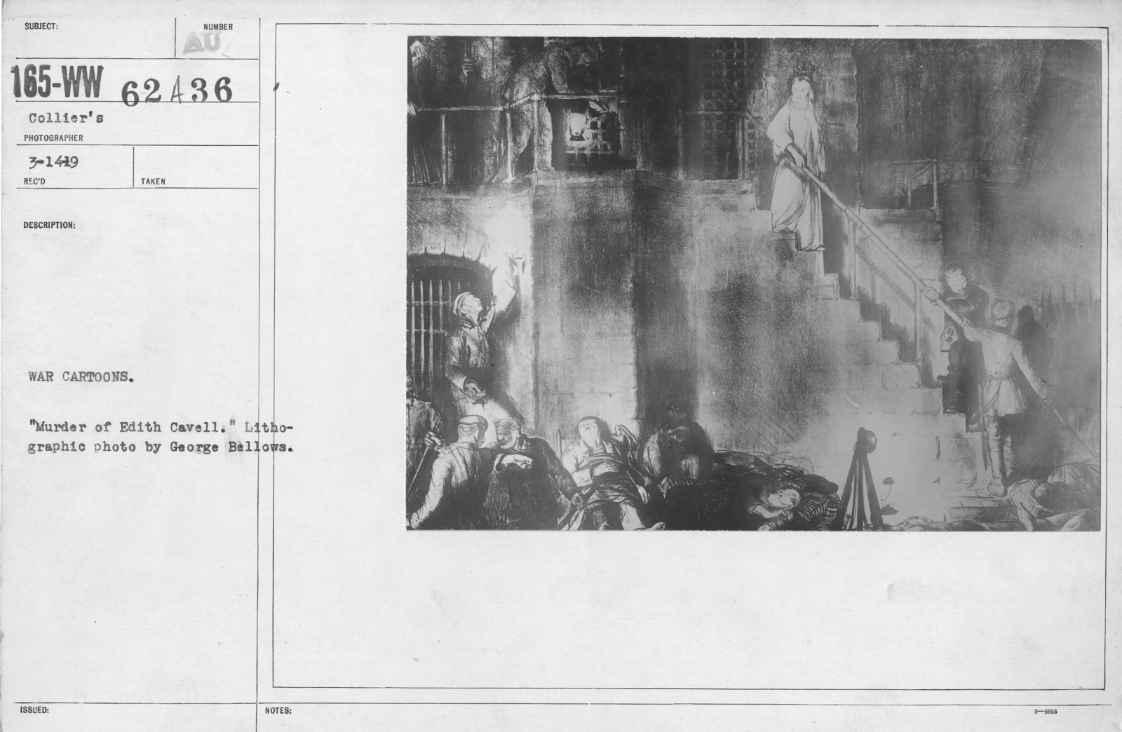 """Artists - American Artworks (Wartime Cartoons) - War Cartoons. """"Murder of Edith Cavell."""" Lithographic photo by George Bellows"""