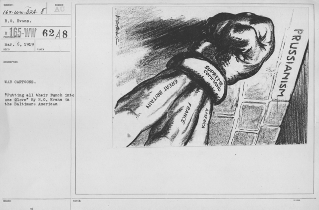 "Artists - American Artworks (Wartime Cartoons) - War Cartoons. ""Putting all their Punch into one Glove"" by R.O. Evans in the Baltimore American"