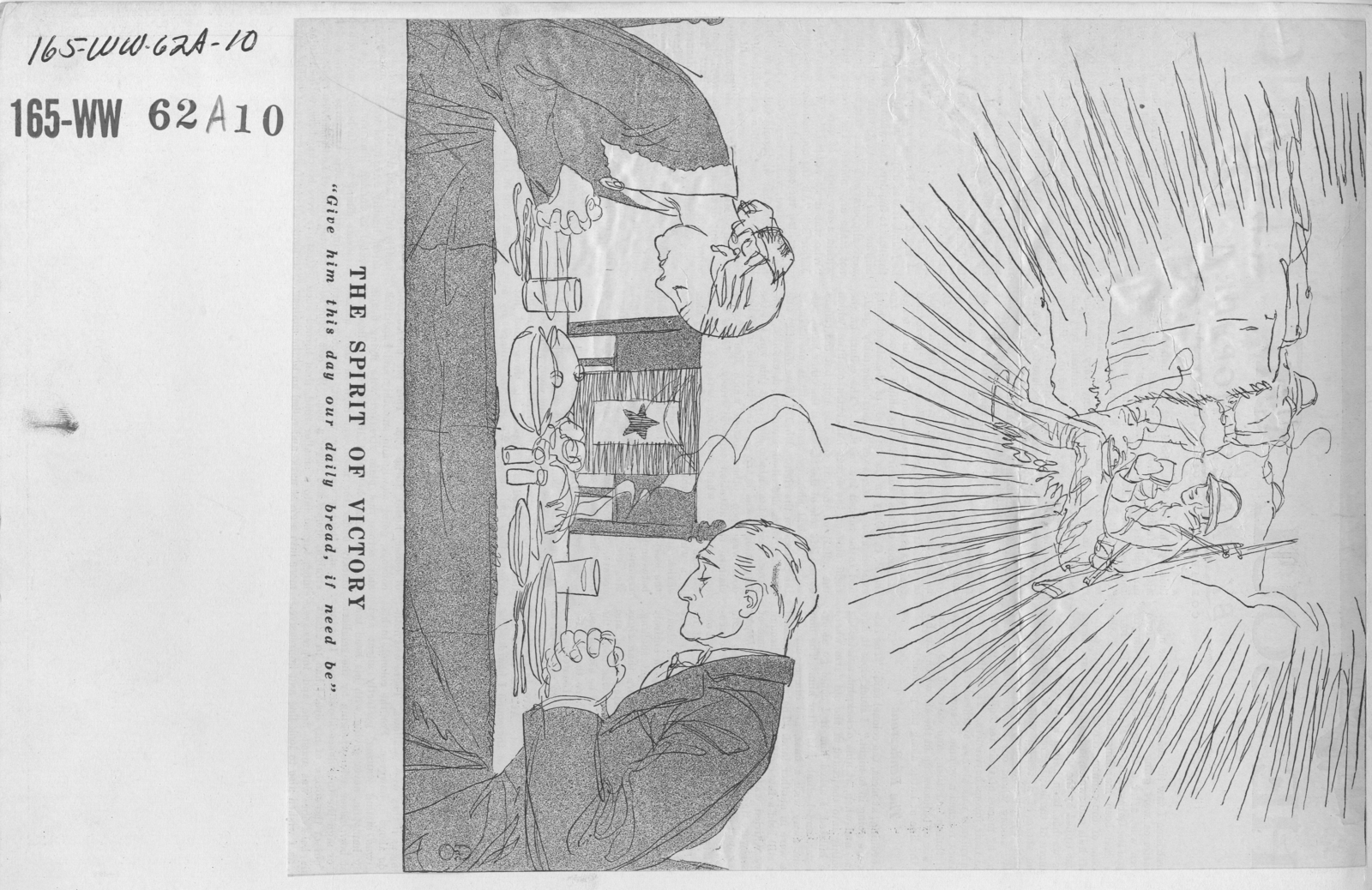 """Artists - American Artworks (Wartime Cartoons) - War Cartoons. """"Spirit of Victory: Give Him This Day Our Daily Bread, if Need Be"""" - by F.G. Cooper in Collier's, July 13, 1918"""