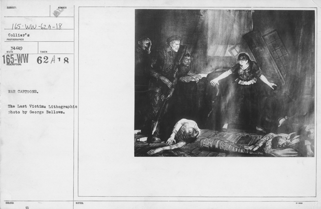 Artists - American Artworks (Wartime Cartoons) - War Cartoons. The last Victim. Lithographic photo by George Bellows