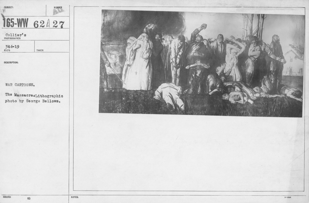 Artists - American Artworks (Wartime Cartoons) - War cartoons. The Massacre. Lithographic photo by George Bellows