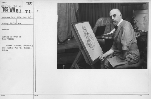 Artists - Artist at work on War Poster. Albert Sterner, painting war poster for the Government