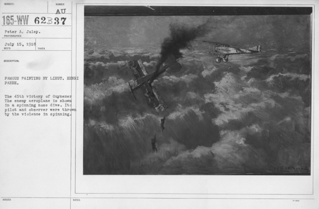 Artists - French Artworks - Famous painting by Lieut. Henri Farre. The 45th victory of Guynemer. The enemy aeroplane is shown in a spinning nose dive. Its pilot and observer were thrown by the violence in spinning