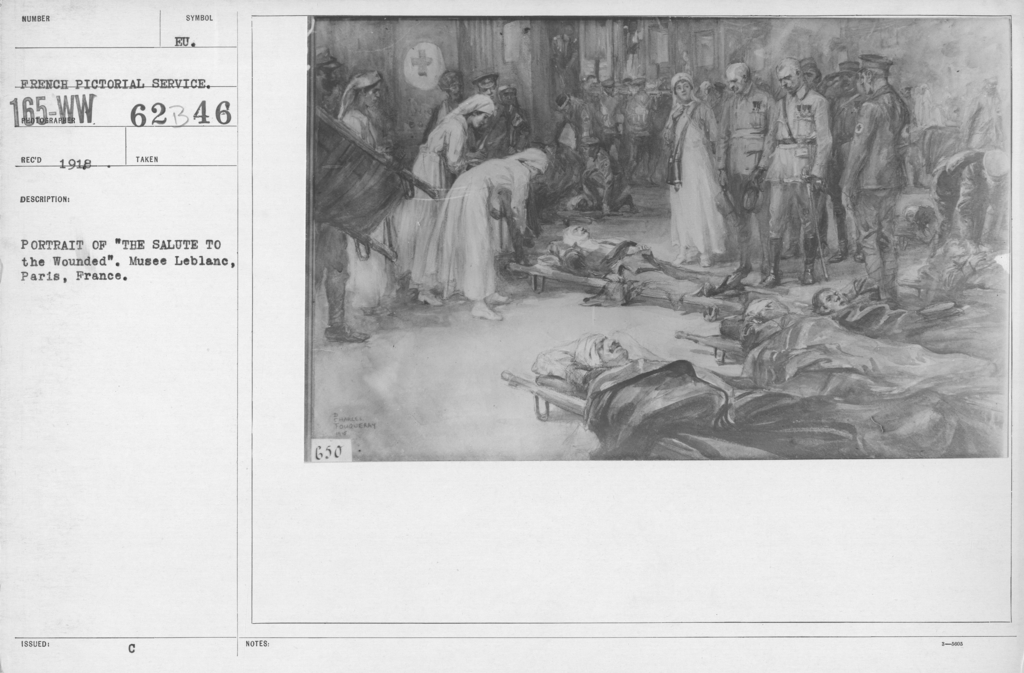 """Artists - French Artworks - Portrait of """"The Salute to the Wounded."""" Musee Leblanc, Paris, France"""