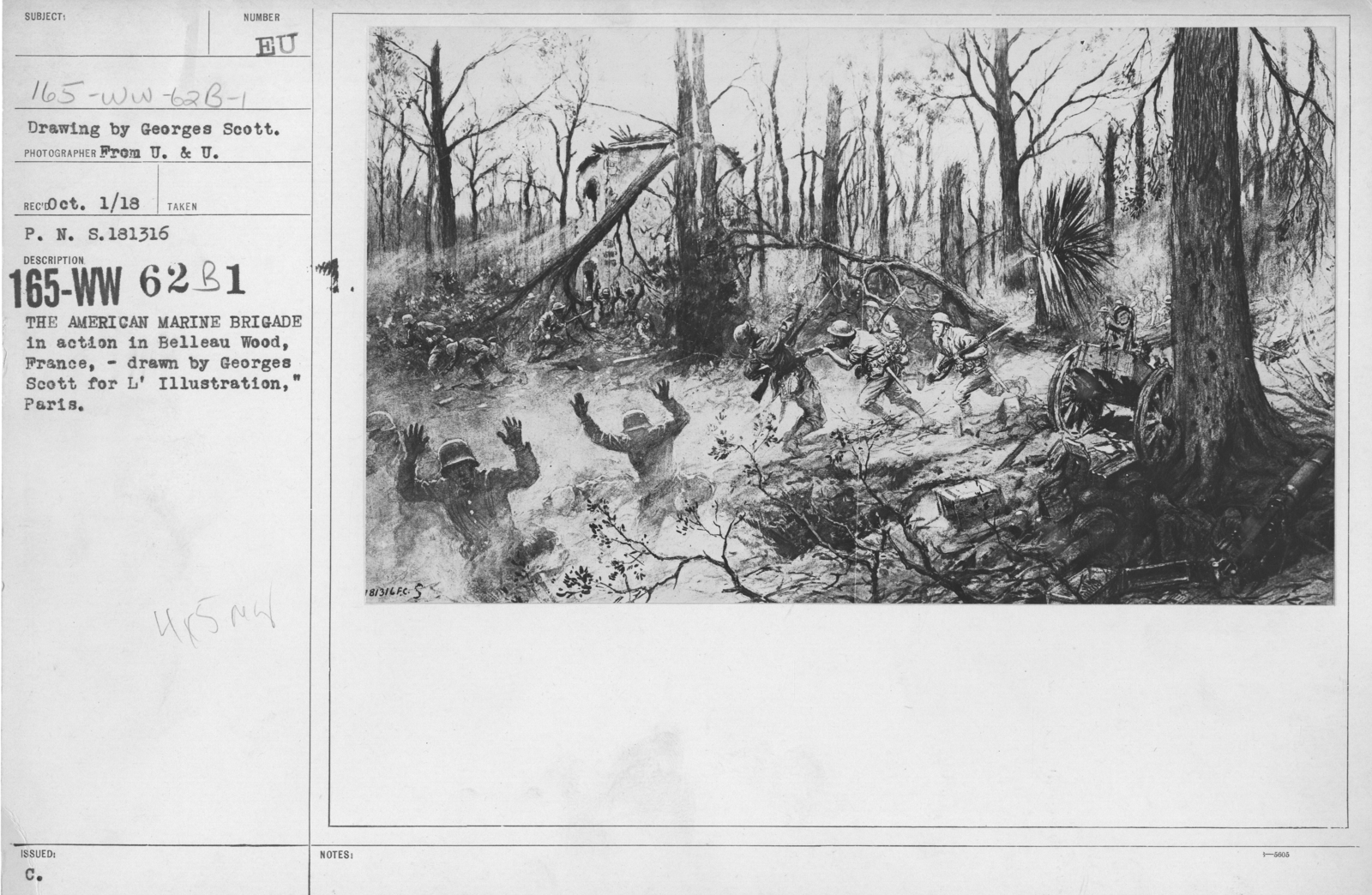 """Artists - French Artworks - The American Marine Brigade in action in Belleau Wood, France, - drawn by Georges Scott for L'Illustration,"""" Paris"""