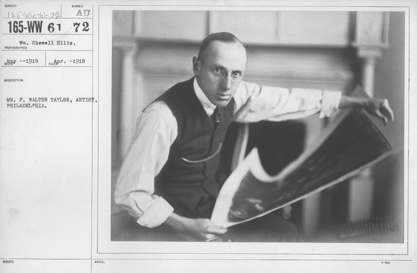 Artists - Mr. F. Walter Taylor, Artist, Philadelphia