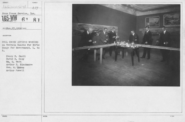 Artists - Well known artists working on Terrain Boards for Rifle Range for Government. Lef to right: Henry B. Snell, David R. Daly, Wm. G. Watt, Arthur E. Blackmore, Geo. M. Reeves, Arthur Powell