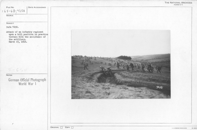 Attack of an infantry regiment upon a hill position in practice terrain wih the assistance of the artillery. March 23, 1918