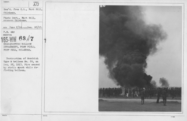 Balloons - Accidents & Wrecks - Headquarters Balloon Detachment, Post Field, Fort Sill, Oklahoma. Destruction of GoodrichType M balloon No. 64, on Dec. 26, 1917. Fire caused by static spark while deflating balloon