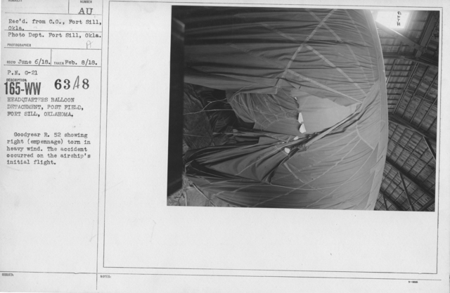 Balloons - Accidents & Wrecks - Headquarters Balloon Detachment, Post Field, Fort Sill, Oklahoma. Goodyear R. 52 showing right (empennage) torn in heavy wind. The accident occurred on the airship's initial flight