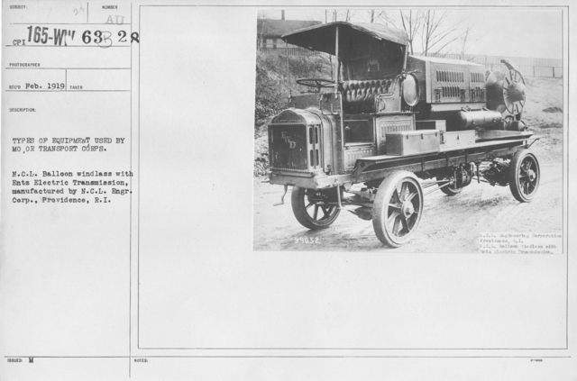 Balloons - Equipment - Types of equipment used by Motor Transport Corps.  N.C.L. Balloon windless with Entz Electric Transmission, manufactured by N.C.L. Engineering Corp., Providence, R.I