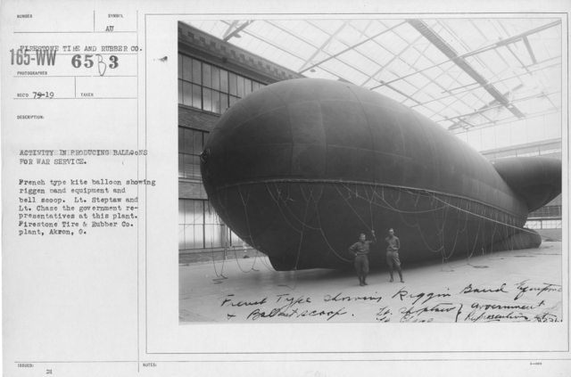 Balloons - Firestone Tire & Rubber Co. - Activity in producing balloons for war service. French type kite balloon showing riggen band equipment and bell scoop. Lt. Steptaw and Lt. Chase the government representatives at this plant. Firestone Tire & Rubber Co. plant, Akron, O
