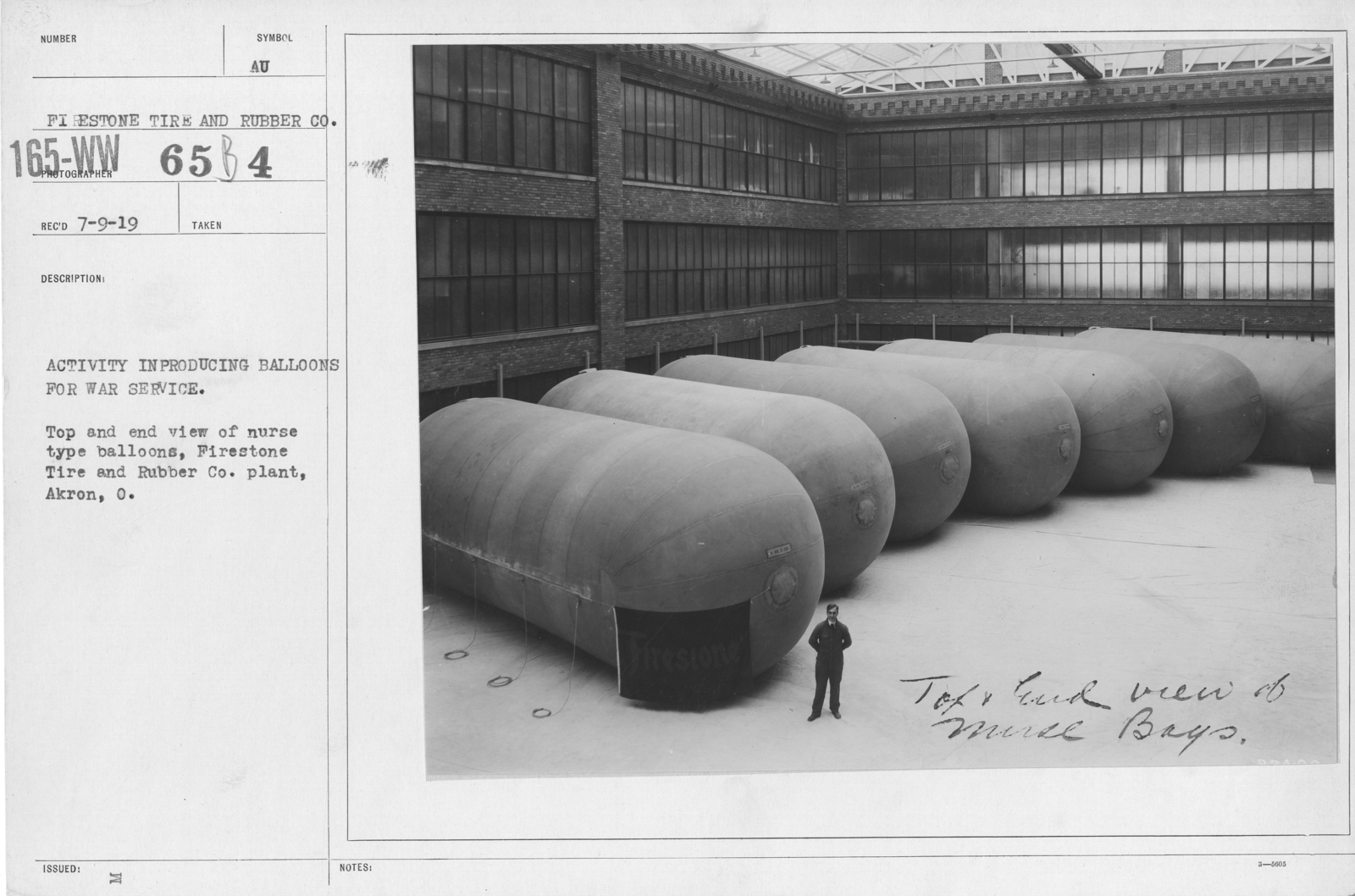Balloons - Firestone Tire & Rubber Co. - Activity in producing balloons for war service. Top and end view of nurse type balloons, Firestone Tire and Rubber Co. plant, Akron, O
