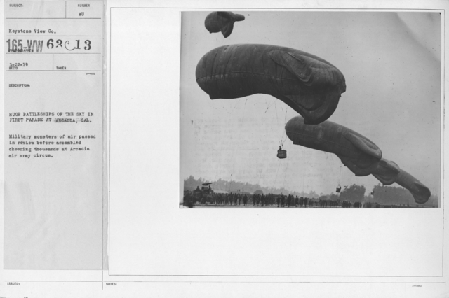 Balloons - Flights - Huge battleships of the sky in first parade at Arcadia, Cal. Military monsters of air passed in review before assembled cheering thousands at Arcadia air army circus