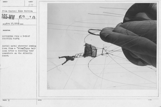 "Balloons - Flights - Returning from a U-boat scouting party. Aerial naval observer coming down from a ""Blimp"" type balloon after a scouting tour somewhereo n the Atlantic Coast"