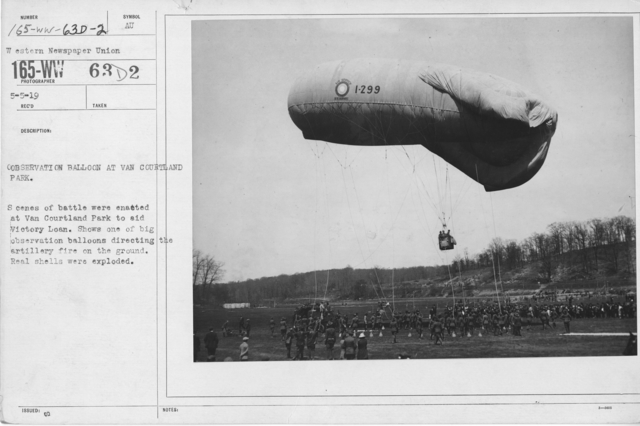 Balloons - Flights with Ships in View - Observation balloon at Van Courtland Park. Scenes of battle were enacted at Van Courtland Park to aid Victory Loan. Shows one of big observation balloons directing the artillery fire on the ground. Real shells were exploded