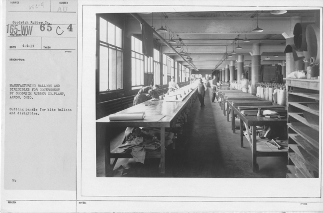 Balloons - Goodrich Rubber Co. - Manufacturing balloon and dirigibles for government by Goodrich Rubber Co. Plant, Akron, Ohio. Cutting panels for kite balloon and dirigibles