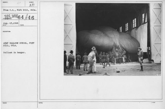 Balloons - Hangars and Beds - Army Balloon School, Fort Sill, Okla. Balloon in hangar