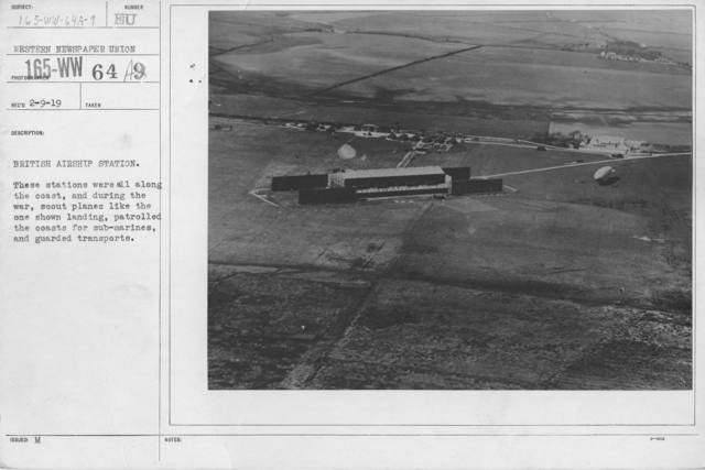Balloons - Hangars and Beds - British Airship Station. These stations were all along the coast, and during the war, scout planes like the one shown landing, patrolled the coasts for submarines, and guarded transports