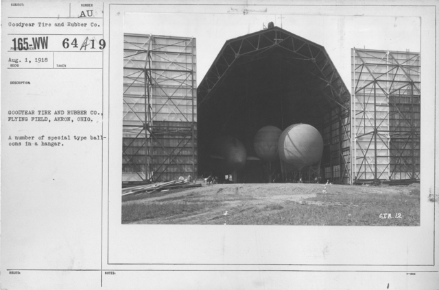 Balloons - Hangars and Beds - Goodyear Tire and Rubber Co., Flying Field, Akron, Ohio. A number of special type balloons in a hangar