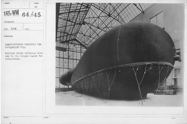 Balloons - Hangars and Beds - Manufacturing balloons for government use. Balloon fully inflated with air in the hangar ready for inspection