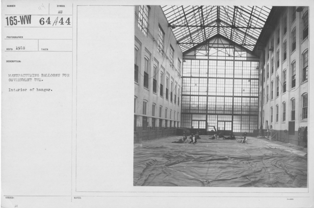 Balloons - Hangars and Beds - Manufacturing balloons for government use. Interior of hangar