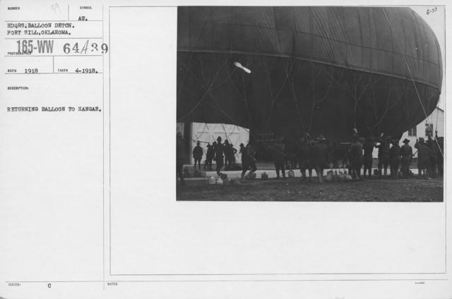 Balloons - Hangars and Beds - Returning balloon to hangar