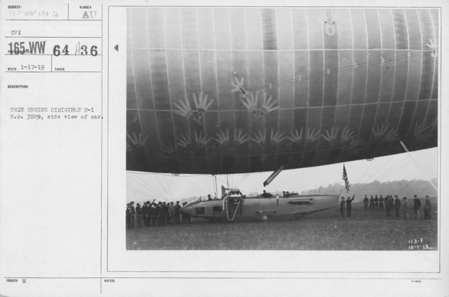 Balloons - Hangars and Beds - Twin Engine Dirigible C-1 N.O. 3509, side view of car