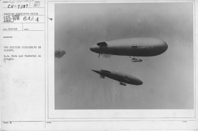 Balloons - Hangars and Beds - Two British Dirigibles in flight. S.S. Zero and Parseval in flight