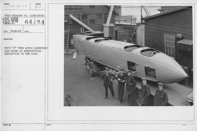 """Balloons - Hangars and Beds - Type """"C"""" Twin Motor Dirigible car shown at Aeronautical Exposition in New York"""