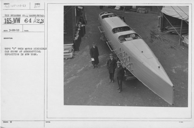 "Balloons - Hangars and Beds - Type ""C"" Twin Motor Dirigible car shown at Aeronautical Exposition in New York"