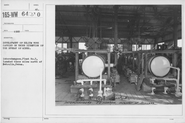 Balloons - Helium Plants - Development of helium work carried on under direction of the Bureau of Mines. Interchangers. Plant No. 3, located three miles north of Petrolia, Texas
