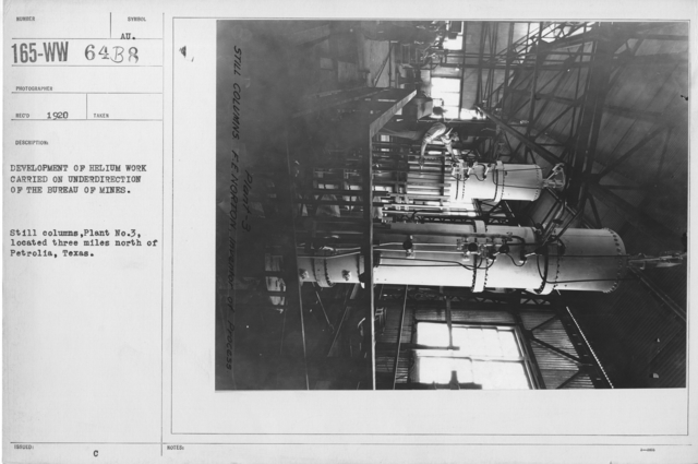 Balloons - Helium Plants - Development of helium work carried on under direction of the Bureau of Mines. Still columns, Plant No. 3, located three miles north of Petrolia, Texas