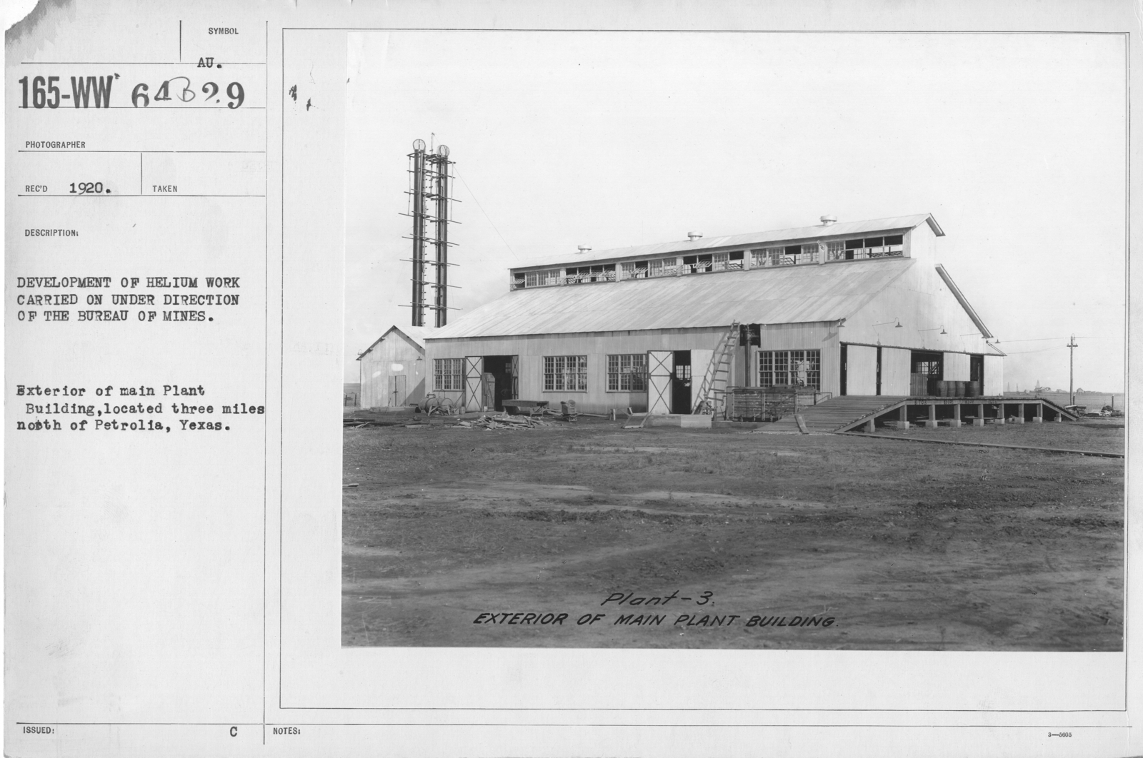 Balloons - Helium Plants - Development of helium work carried on under direction of the Bureau of Mines. Exterior of main Plant Building, located three miles north of Petrolia, Texas